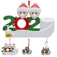 Frohe Weihnachtsschmuck Ornament 2020 Weihnachtsbaum hängen Anhänger Harz Schneemann mit Maske Family Outdoor-Dekor 10 5hm H1