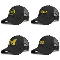 Tapas de Michigan Wolverines Logotipo redondo ajustable del camionero casquillo de la manera del sombrero de béisbol de bola papá de la vendimia para el logotipo del fútbol de los hombres de las mujeres de edad Imprimir