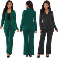 Manches manteau avec un crayon Costumes Pantalons Costumes Bureau Lady Outfit Womens Blazers solides 2pcs hiver Femme élégante Sets longue