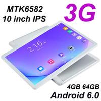 Octa Core 10 Inch Tablettette MTK6582 IPS شاشة تعمل باللمس بالسعة المزدوج SIM 4GB RAM 64GB ROM 3G Android 6.0 Tablet Phone PC
