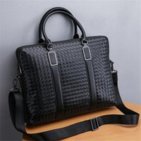 Yinglunfeng hand business briefcase horizontal multi functional handbag head layer leather woven men bag