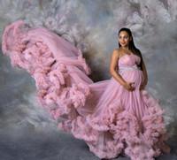 Yeni Hamile Elbise İçin Fotoğraf Hamile Kadınlar Seksi Straplez Katmanlı Ruffles Nigh Elbiseler Denizkızı Önlük Hamilelik Elbise Bebek Balo Aşınma