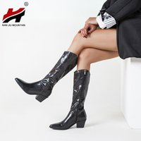 Boots NAN JIU MOUNTAIN 2021 Woman Knee Pointed Mid Heel Fashion Solid Color Outdoor Women's Shoes Plus Size 43