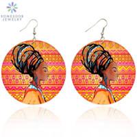 SOMESOOR ретро Headwrap женщина афро Этнический Деревянные серьги падение Африканский краски древесины Подвеска Tribal мотаться ювелирные изделия для женщин Подарки