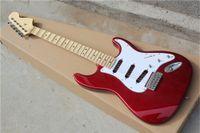 Kits de guitarra semiacabados rojos de metal eléctrico de fábrica, guitarra de bricolaje, tuerca de latón, fretboard festoneado de arce, se puede cambiar