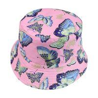 Las nuevas mujeres de la mariposa del verano algodón de la impresión del sombrero del cubo sacudida de la manera de Hip Hop gorros femeninos niñas Pescador Sombrero Azul Rosa Panamá