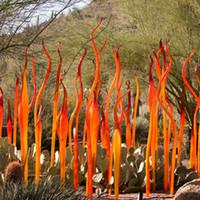 Les lampes de Murano roseaux à la main Spear Italie Hotel Jardin Sculptures Art Déco Orange Verre Sculpture pour la décoration de la maison extérieure