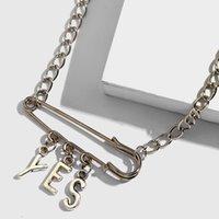 مجوهرات JJFOUCS المتناثرة خمر YES رسالة قلادة قلادة فضية اللون السلامة دبوس قلادة أنثى شخصية بار حزب