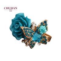Küme Yüzükler Chuhan Kelebek Gül Kadınlar için Rhinestone Nişan Yüzüğü Kadın Takı C33