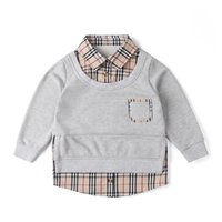 Spring Boys Sweatshirt Children Plaid Fake two- piece sweater...