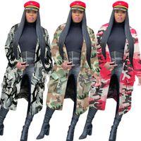 عالية الجودة المرأة التمويه Printng خندق معاطف 2020 الخريف الساخن بيع سيدة كم كاملة V الرقبة جيوب منتصف الساق صوفية