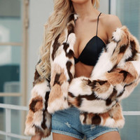 DOUDOULU Elegant Womens faux fur coat Warm Faux Wollen Coat Jacket Winter Ladies Turn Down Collar Outerwear streetwear #SS