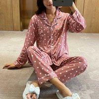 Mode coton imprimé femmes de nuit Pyjama Set vêtements de nuit des femmes Automne Printemps Pijamas Accueil Costume Nouveau pyjama Femme