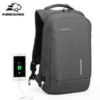 Kingsons Men's Backpack Fashion Multifunction USB Charging Men 13 15 inch Laptop Backpacks Anti-theft Bag For Men 200918