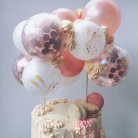 Другие праздничные партии поставляет воздушные шары торт топпер рождения украшения детей розовый золотой воздушный шар CakeTopper детская душа свадебный кекс декор