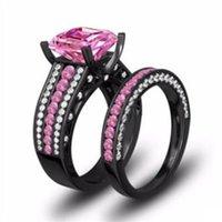 Choucong Brand New Luxury Jewelry 10Kt Black Gold Fill Princess Cut Rosa Topas CZ Diamant Ewigkeit Paar Ring Frauen Hochzeit Braut Ring Set