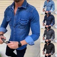 Color Denim Jacket Multi Pocket Lapel Neck Single Breasted C...