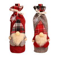 Vinho de Natal da tampa da manta de linho Garrafa roupa Garrafa de Vinho Tampa Xmas Ornamento Faceless Papai Noel Wine Bag Decoração de Natal CYZ2759