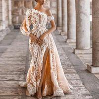 Champagne fendus Sirène Robes de Mariée avec détachable train Vintage 2021 une épaule à manches longues Arabie arabe dentelle Robes de mariée