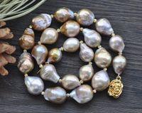 """P7731 18"""" 20 mm Peacock-lavanda-barroco gota KESHI collar de perlas de Edison"""