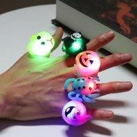 Halloween levou decorações do partido anel pequena do brinquedo dos anéis de presente abóbora Crânio anéis de morcego levou luva brinquedos engraçado iluminadas