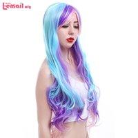 Synthetische Perücke L-E-Mail-Perücke lila blau gemischte Frauen Cosplay 80cm / 31.5inches lange lockige Hochtemperatur-Faser-Haar-Perucas