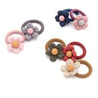 Accesorios para el cabello Coreano Niños Elástico Banda de goma Tela Flor Cuerda Cuerda Chica Anillo Alto Lado Clip