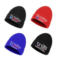 ترامب القبعة إبقاء أمريكا العظمى دونالد ترامب 2020 بلوزات مطرزة الجمجمة بيني كاب الصوفية قبعات للجنسين الشتاء الدافئ قبعة صغيرة القبعات أصوات D91001