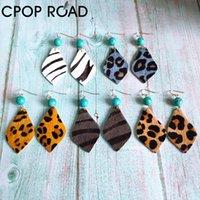 CPOP Rindsleder Ohrringe für Frauen Haar auf Western-Art-Edelstein-Stein Netter Teardrop-Tierdruck Zebra-Muster-Leder-Ohrring