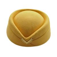 Bérets 2021 laine feutre pillbox air-hostesses béret chapeau casquette casquette de la compagnie aérienne hôtesse de l'hôtesse sexy uniforme formelle caps accessoire