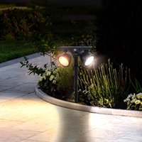 Impermeable al aire libre Solar Two-cabeza luz solar del LED, el patio del jardín del césped del paisaje del proyector, luces de camino, lámpara de pared