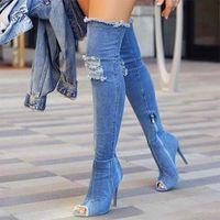 Knee Aşırı Yüksek Bottes Seksi Boots Kadınlar Denim Jeans Uyluk Yüksek Boots Peep Toe Delik Mavi Topuklar Fermuar Botaş Mujer Ayakkabı