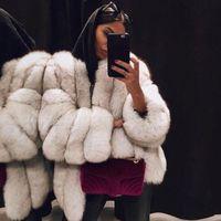 Piel de mujer Faux invierno ropa cálida mujer lana acolchada acolchada cuello redondo chaqueta larga bombardero peluquero abrigo mujer