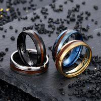 6 ملليمتر الفولاذ المقاوم للصدأ خشب الخشب الذيل رجل الخطوبة خاتم الزواج للرجال الذهب والفضة الأسود الهيب هوب المجوهرات