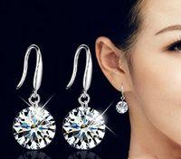 Sterling Silber Braut Kristall Drop Ohrringe 10mm Klassische glänzende Schmuck Hochzeitszubehör Strass Ohrringe Für Braut Frauen