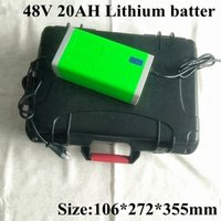Lithium 48V 20Ah Li Ion Battery Pack with BMS for Electric Car Ebike Scooter Bike Wheelchair +3A Charger