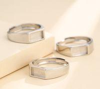 5 * anillos blanco cojín bajo 10mm plata de ley 925 Semi bases para montaje en espacios en blanco anillo de ajuste set de regalo de la joyería A5468