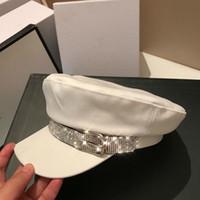 القبعات إنجلترا نمط شقة كاب الخريف الشتاء خمر القطن قبعة للنساء أزياء الماس قناع قبعة العلامة التجارية