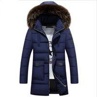 M-3XL Winter-Männer unten Baumwolljacke Wintermantel Mode Pelz-Kragen-festes langer Parka Männlich Plus Size Outwear 2020 Neu