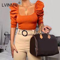 LVINMW Мода Вязание площади воротник слоеного рукав тощий Crop Top 2020 Spring Женщины Sexy Половина рукавом рубашки Женщины Streetwear