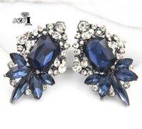 Yayi gioielli di vetro blu orecchino delle donne di cristallo di rocca ciondolano di cristallo di modo di argento antico gemma di colore lunghi orecchini regalo 1259