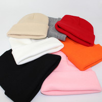 Männer Frauen gestrickte Baumwolle Hat Solid Color Wollhut Einfache Strickmütze: Student Paar Herbst-Winter-Warm Hip Hop-Hut