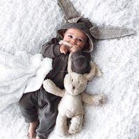 Nouveau-né Baby Rompers Rompers Lapin Babies Babies OneSies Vêtements Capuchon à glissière à capuchon Toddler Romper Body Body Jumpsuits Sac de couchage RRA3572