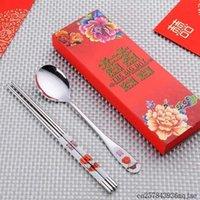 Favor de fiesta 100Sets Spmoons Chopstick Sets Doble Felicidad Vajilla Material de acero inoxidable Regalos de boda para invitado