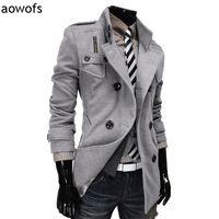 Erkek Yün Karışımları Moda 2021 Aowofs Kruvaze Kış Giyim Tasarım Yün Toz Ceket Trech Ceket Beyefendi Rüzgarlık