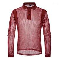Образным вырезом рубашки поло Новые Мужская одежда Мужская Sexy See Through Polo Мода Solid Color Полосатый с длинным рукавом отворотом