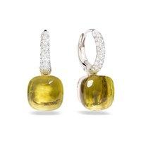 SLJELY 23 colores de cristal biselado pendientes cuadrados de caramelo 3 color oro incrustaciones de circonio CZ pendientes gota del agua de la manera de las mujeres de la joyería 200922