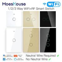 Smart WiFi Light Touch Interrupteur Pas de contrôle neutre fil: vie intelligente Tuya APP Alexa Accueil Google Compatible 1/2/3 Gang UE des États-Unis