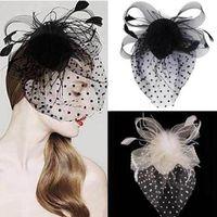 Partito Fascinator accessorio capelli della piuma della clip cappello del fiore Signora Veil Wedding Decor