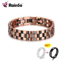 Bracelets de charme Rainso Pure Cuivre pour hommes Magnétiques Négatif Ions Négatifs Germanium Bio Energy Bracelet Vintage Link Chain Homme Drop